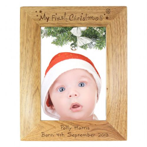Personalised My First Christmas 5x7 Wooden Frame